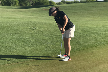 Army 2nd. lt. Melanie DeLeon, USAG Bavaria, Germany captures gold as top golfers from around the military compete for gold during the 2019 Armed Forces Golf Championship held at the Falcon Dunes Golf Course at Luke Air Force Base, Arizona from May 15-18.