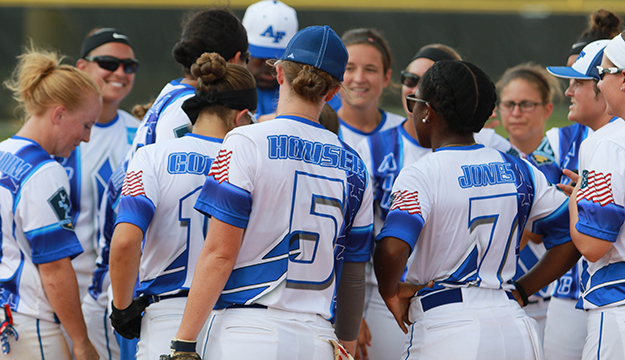 Air Force Women celebrate their gold medal performance during the 2017 Armed Forces Men's and Women's Softball Championship 19-23 September at Joint Base San Antonio-Fort Sam Houston, Texas.