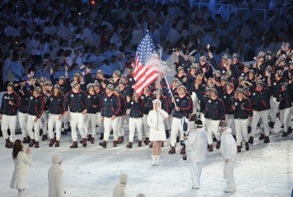 Team USA Marches in during the 2010 Vancouver Olympic Games