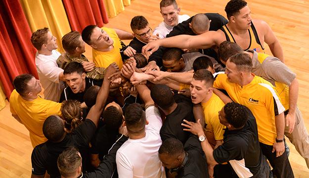 The U.S. Army team celebrates its Armed Forces freestyle title. Photo by Lt. Joe Painter, U.S. Navy (Photo by Lieut. Joe Painter)