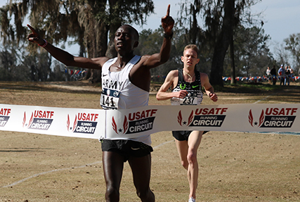 Army Spec. Leonard Korir of Fort Carson, Colo. defended his title at the Armed Forces Cross Country 10k Championship on 3 Feb. in Tallahassee, Fla., and led the Army team to its sixth consecutive title. Korir, from the World Class Athlete Program, blazed to victory in and the race was held in conjunction with the USA Track and Field Cross Country National Championship. Korir said he used his resiliency and determination to win as this was one of the best cross-country fields ever assembled. Army teammates Haron Lagat, the 2017 Army 10-mile champion claimed the Armed Forces silver medal, and Augustus Maiyo, the 2016 Army 10-mile champion, took home the bronze medal. (Photo by Colonel Sean Ryan)